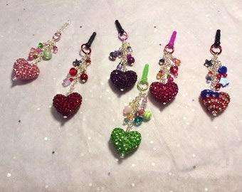 Choose your color-- Pave Heart cell phone charm, dust plug charm, shower favor, bridal, gift