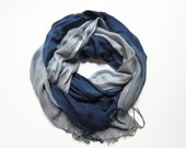 Hand-dyed, Up-cycled Light Blue and Navy Pashmina Scarf Shawl Wrap