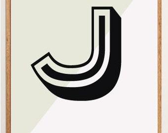 Mid-Century Modern Letter J