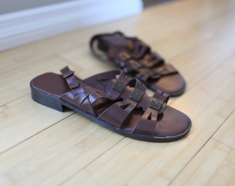 vintage strappy woven brown leather sandals womens 11 *
