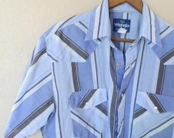 vintage 1970's blue striped western cut pearl snap buttons shirt mens medium