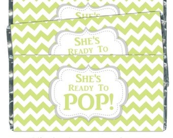 Printable Candy Wrappers, Baby Shower Candy Wrappers - Ready to Pop Candy Wrappers, INSTANT DOWNLOAD, You Print - chevron she's ready to pop