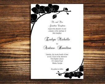 wedding invitations Black and white Orchid wedding invite