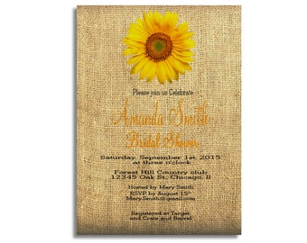 Wedding invitations Sunflower wedding invite