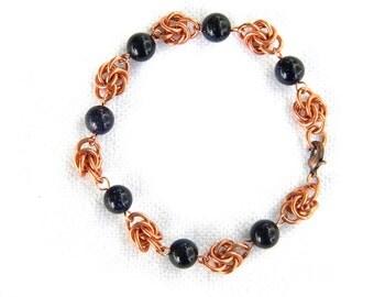 Blue Goldstone and Copper Chainmail Bracelet - Copper Bracelet Copper Chainmail Jewelry Chainmaille Bracelet OOAK Bracelet
