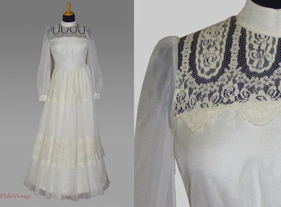 Designer 60s Vintage Wedding Dress 1960s Bridal Gown Lace