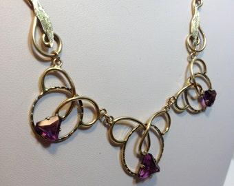Vintage 1940's 10k gold filled and Amethyst necklace.