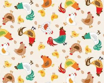 Half Yard - 1/2 Yard - Chickens Multi - Jolly Farm by Makower UK for Andover