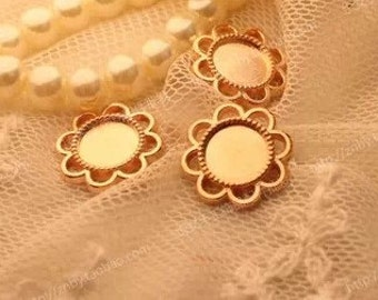 Cabochon Base Settings-50pcs Antique gold circular base Flower Cameo Charm Pendants 8mm