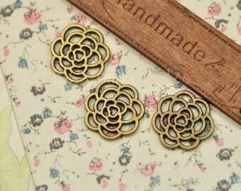 DIY  jewelry 50pcs  antiqued bronze petals charm pendant 16mm Plum blossom petals quincuncial pendant