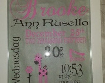 Framed Floating Glass Birth Announcement