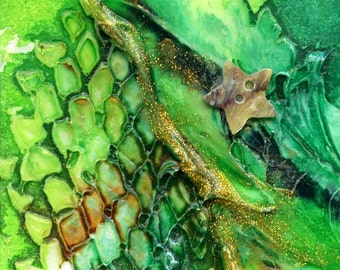 Original ACEO, Mixed Media Abstract- Greens Title: Snakeskin 3
