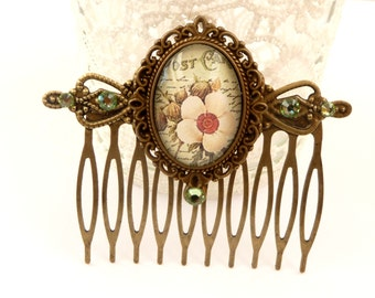 Spring hair comb with antique flowers in 3 designs, flower hair comb, bell flower, christrose, floral hair comb