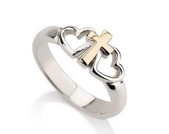 14k Gold Cross Ring 925 Sterling Silver Heart Ring, Cross Ring