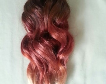 "18"" 100grs,100s,Stick (I) Tip Pastel Dip Dyed Human Hair Extensions # FIRE~ BALAYAGE Ombre"