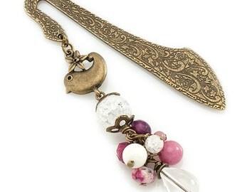 Cute Bird Bookmark, Pink Gemstone Bookmark, Beaded Brass Bookmark, Unique Bookmark, Bird Bookmark Gift, Gemstone Bookmark, Metal Bookmark