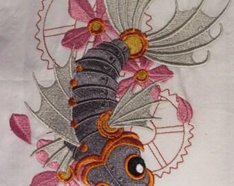 Steampunk Koi Embroidered Pillowcase
