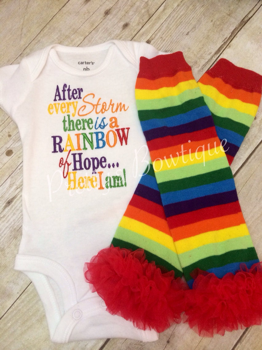 Rainbow Baby outfit Bodysuit or shirt and matching ruffle legwarmers  miracle baby 8f1061407003