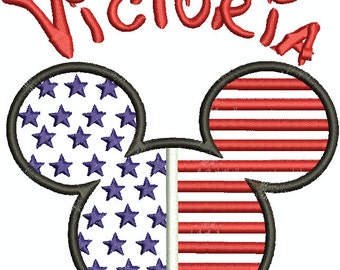 Character Inspired Minnie Mouse Flag Applique with Custom Name Machine Embroidery Design