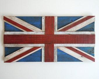 UK Reclaimed Pallet Flag - Wall Art - 3D - United Kingdom - Union Jack