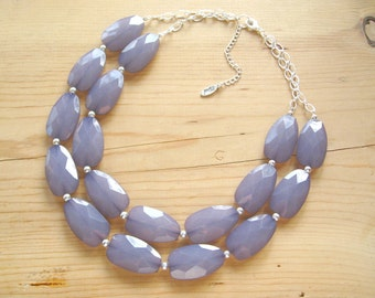 Chunky Gray Statement necklace, Gray statement necklace, Chunky Grey necklace