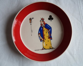 Vintage Signed Wade Queen of Clubs Card Suit Pin Dish