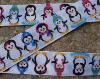 "Penguin ribbon 7/8"" Christmas penguin Ribbon 3 yards Grosgrain Ribbon Hair Bow Ribbon Christmas Ribbon Winter ribbon Holiday Ribbon"