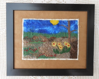 Landscape wall art mixed media collage fiber, framed, felted wool, embroidered flowers, thread painted, ready to hang, alpaca, home decor 2