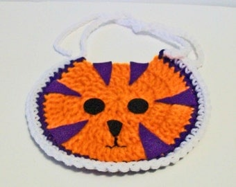 So Cute Hand Crocheted Purple Orange and White Clemson Tiger Head Inspired Baby Bib Great Photo Prop Matching Hat Also Available