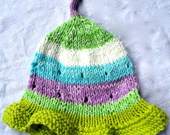 Knit Baby Summer Hat - Green Knit Baby Hat - Baby Clothes - Knit Baby Hat - Summer Hat - Infant Hat - Cotton Knit Baby Hat -Knit Hat Ruffles