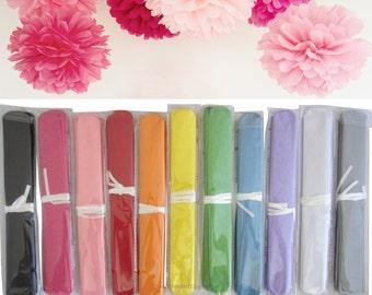 10 x 37cm Tissue Pom Pom, Choose Colour, Paper Poms for Wedding Decorations, Pompoms, FREE POSTAGE Australia Wide