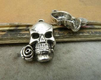 10pcs 15x25mm Antique Silver Skull Charm Pendant
