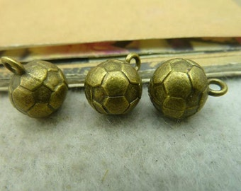 5 pcs 10x13mm Antique Bronze Ball Charms --football--ball--pendant