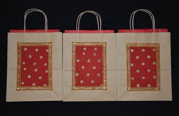 Red Wedding Gift Bags : Gift Bags, Indian Wedding Gift Bags, Kraft Gift Bags, Red silk Bags ...