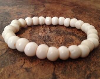 Tibetan White Yak Bone Bead Stretch Wrist Mala Bracelet