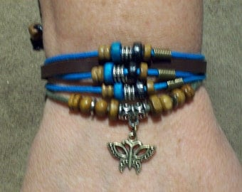Handmade Women's Brown Leather Butterfly  Charm Bracelet