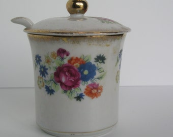 Lovely Vintage Porcelain Jam Jar with Spoon