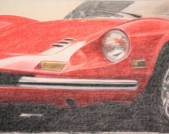 "Drawing of a Ferrari 246 GT ""Dino"""