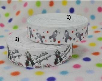 3 yards Diabetes Awareness 7/8 inch or 1 in  CHOOSE DESIGN - Printed Grosgrain Ribbon