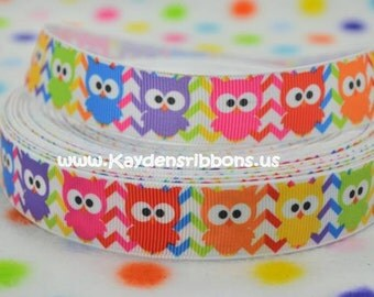 3 yards Owls Multicolor Chevron  - 7/8 inch - Printed Grosgrain Ribbon