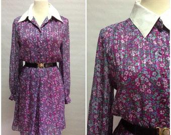 SALE Vtg 80s Peter Pan Purple Floral Shirt Dress