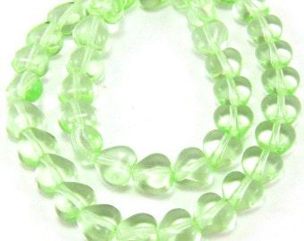 Peridot Green 6mm Heart Czech Glass Beads 50pc #949