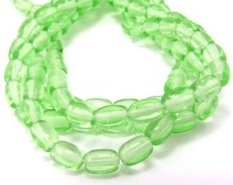 Peridot Green Czech Glass 4x6mm Rosary Oval Beads 50pc #522
