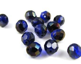 Cobalt Zairite 8mm Facet Fire Polished Czech Glass Beads 20pc #1856