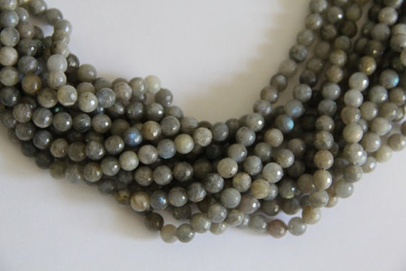 "Labradorite 8mm faceted round beads 16"" length strand"