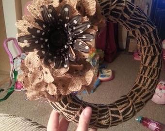 Burlap Polka dot wreath animal print