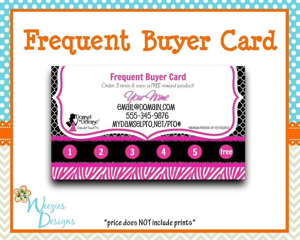 Damsel in defense frequent buyer card business by for Damsel in defense business cards