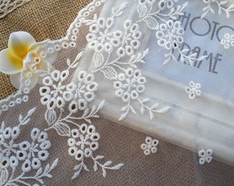 Retro Bridal Floral Lace White Embroidered Cotton Lace Trim 7.87 Inches Wide 1 Yard