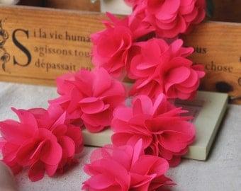Hot Pink Chiffon Rosette Wedding Bridal Dress Lace Trim DIY Fabric Crafts Alterations Supplies