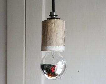 white dipped simple driftwood pendant light hanging light fixture rustic farmhouse bare bulb pendant